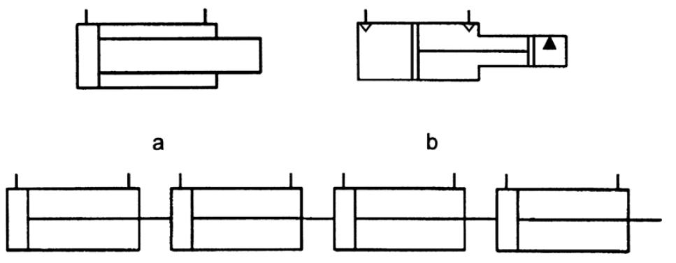Гидравлический плунжер, мультипликатор, дискретный гидроцилиндр